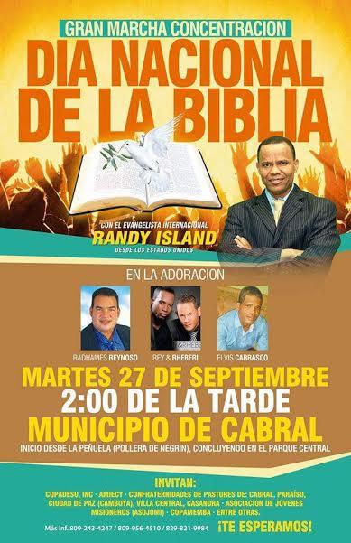 , Cabral será escenario de la celebración del Día de La Biblia este próximo martes.