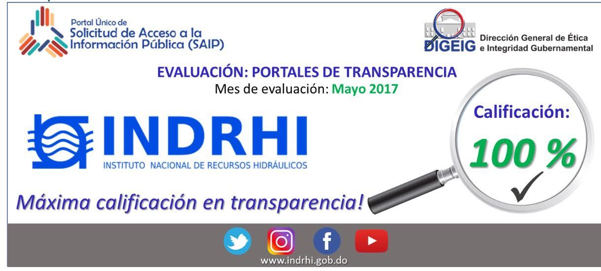 , INDRHI obtiene máxima calificación en materia de transparencia