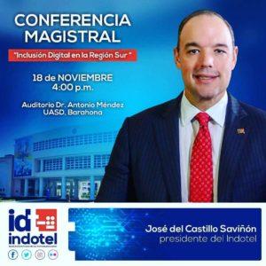 , José del Castillo Savinón, presidente del Instituto Dominicano de las telecomunicaciones firmara acuerdo con provincias del Sur