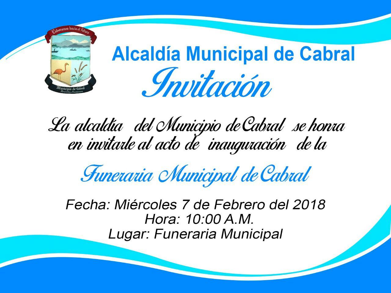 , Alcaldía inaugurará funeraria en el municipio de Cabral