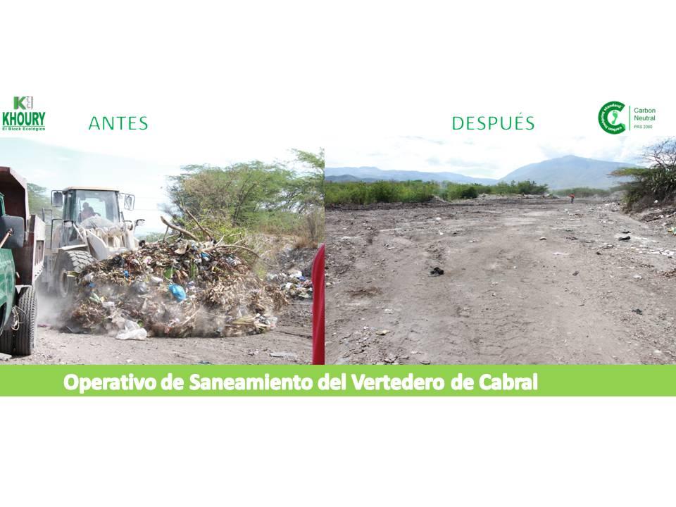 , Khoury Industrial  realiza operativo de saneamiento vertedero de Cabral
