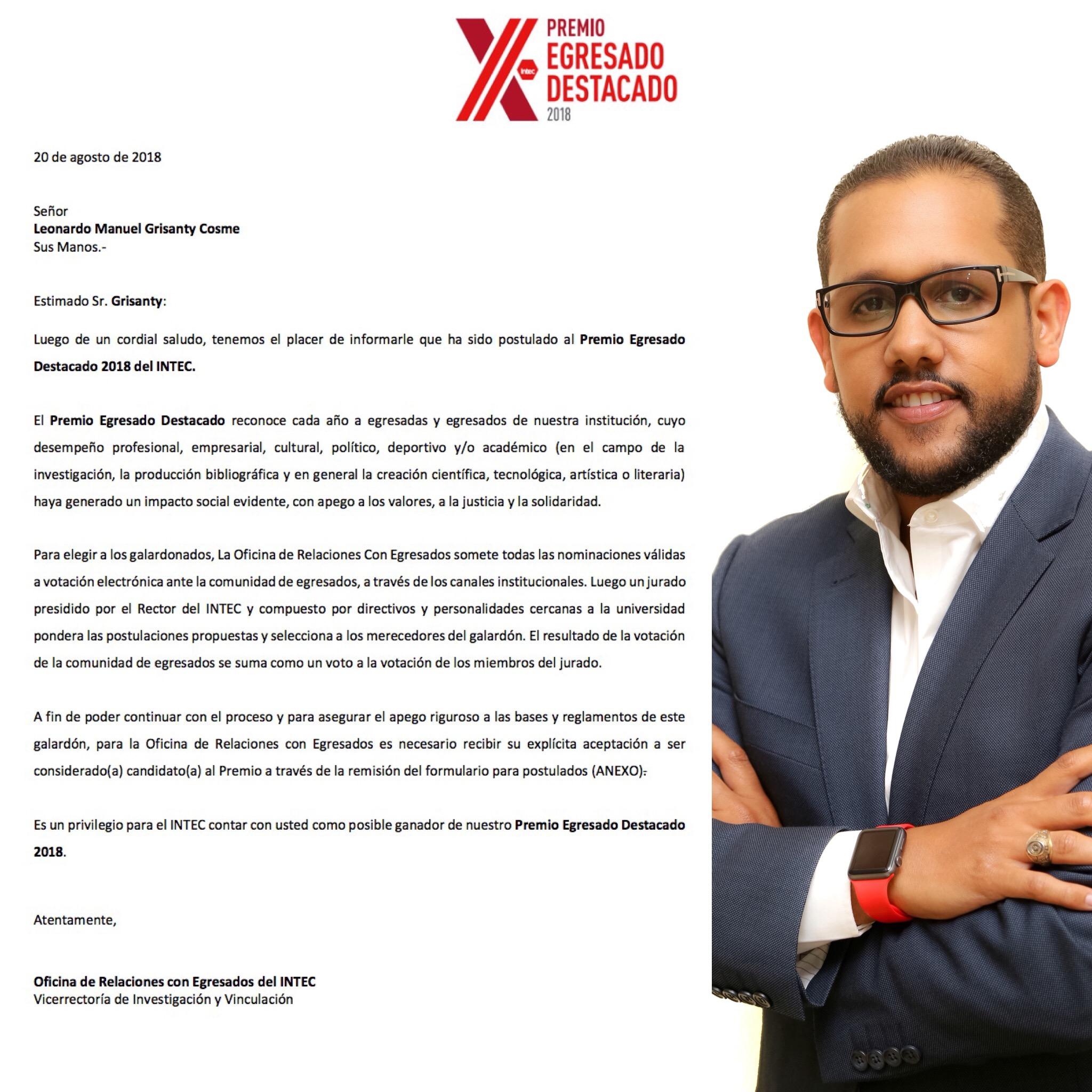 , INTEC otorgará Premio Egresado Destacado 2018; ingeniero Leonardo Grisanty figura entre los postulados