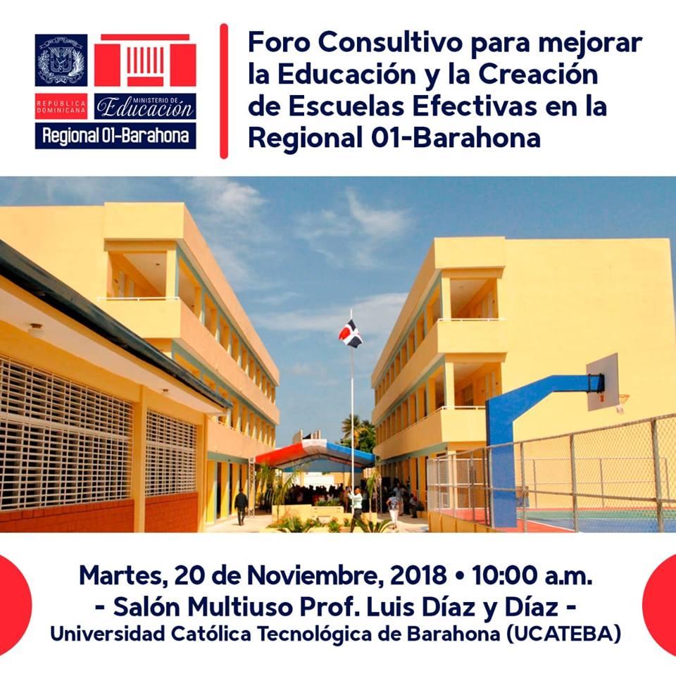 , Regional 01 y Distrito 0103 harán foro por la educación