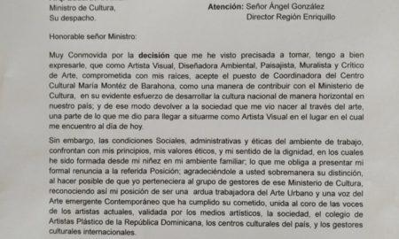 Directora del Centro Cultural María Montéz renuncia por falta a la ética laboral que la han sometido.