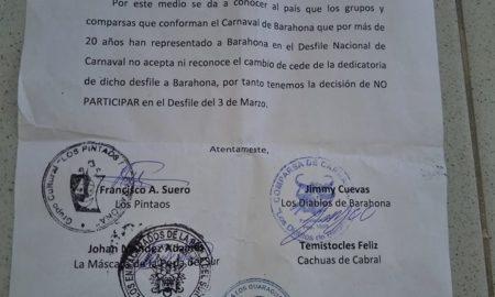 Barahona y sus comparsas no participaran en Desfile Nacional de Carnaval 2019.