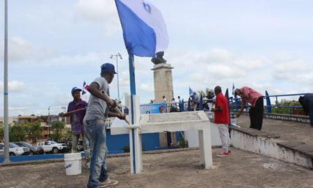 Perremeístas de Santo Domingo Norte remozan plaza José Francisco Peña Gómez