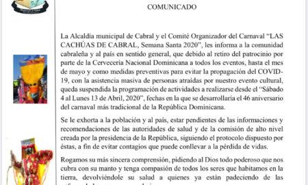 Suspenden Carnaval de Cabral por medidas preventivas sobre Coronavirus