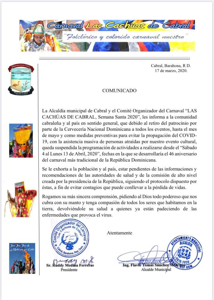 , Suspenden Carnaval de Cabral por medidas preventivas sobre Coronavirus