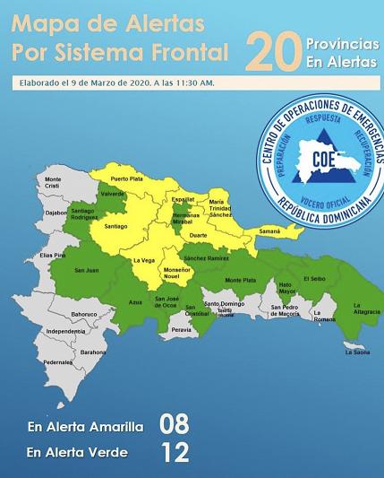 , COE pone 20 provincias bajo alerta