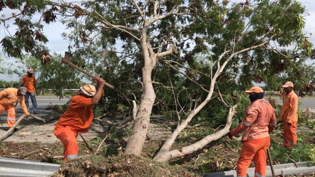 , Brigadas de MOPC habilitan al tránsito vías que fueron obstruidas por el paso de la tormenta Isaías