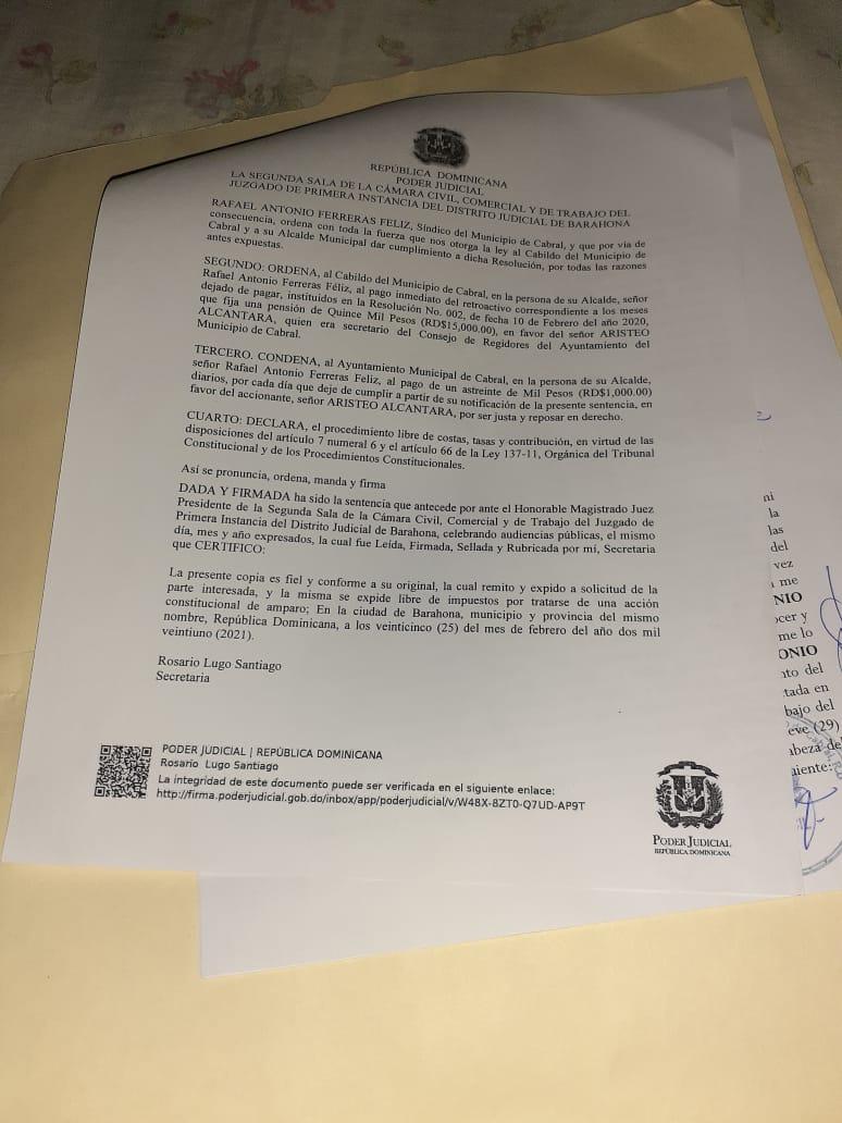 , Alcalde de Cabral se niega al pago de pensión ratificada por sentencia