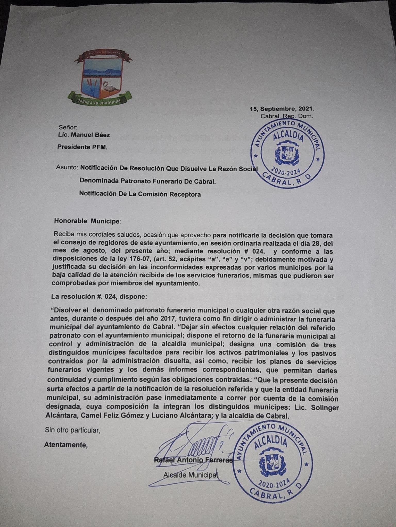 Concejo Municipal de Cabral disuelve Patronato De Funeraria